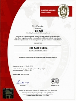 New ISO 14001:2004 certificate